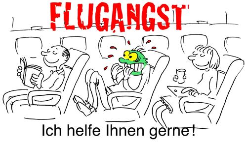 Flugangst - Psychotherapie Dupke – Cartoon copyright Charles Yamine